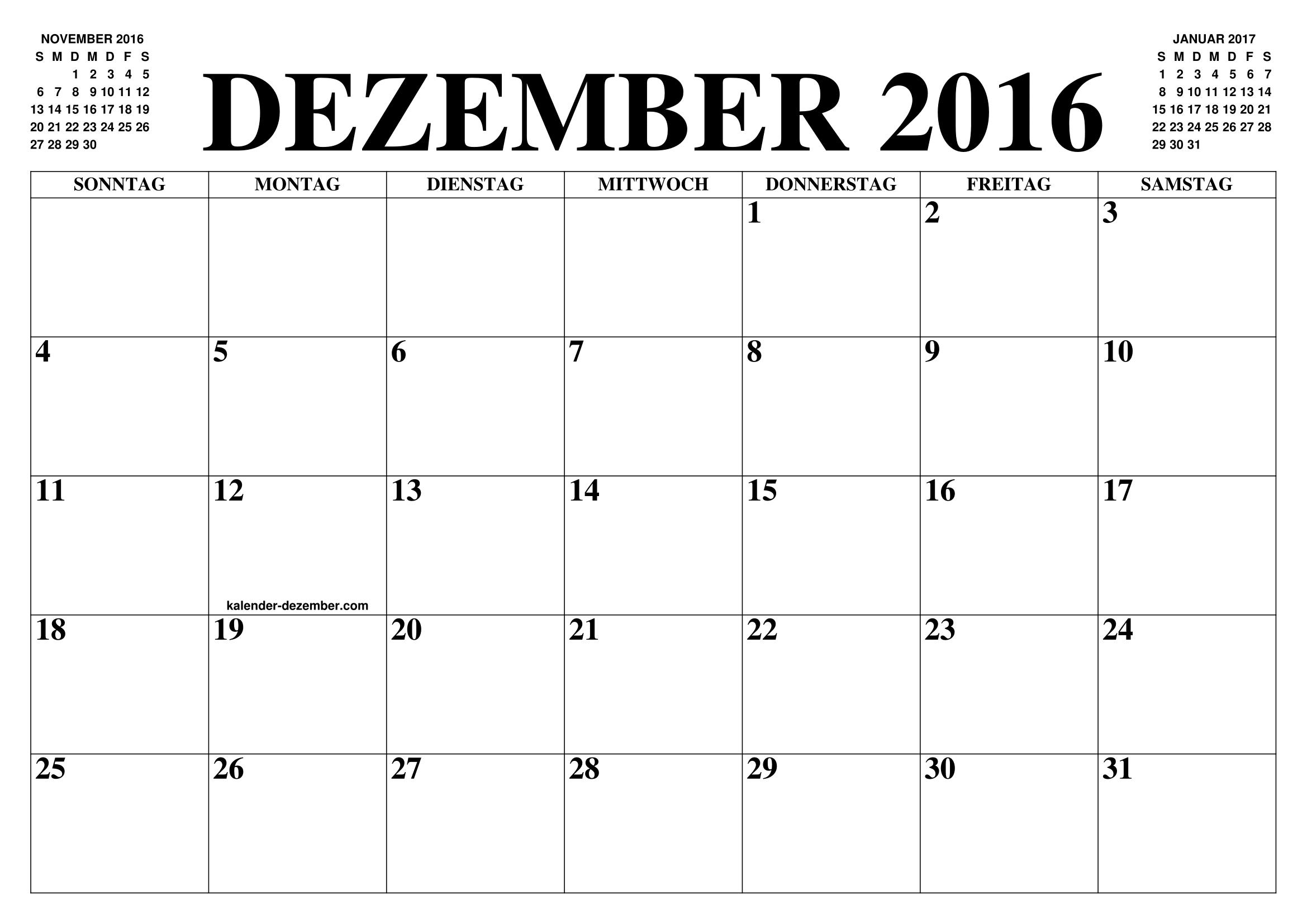 kalender dezember 2016 dezember kalender zum ausdrucken gratis monat und jahr agenda. Black Bedroom Furniture Sets. Home Design Ideas